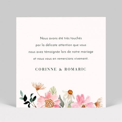 Carte remerciement de mariage Fleuri