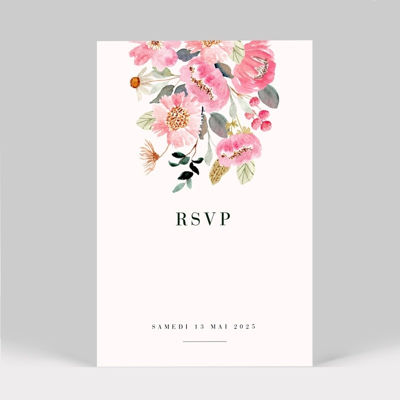 Carton réponse mariage Fleuri