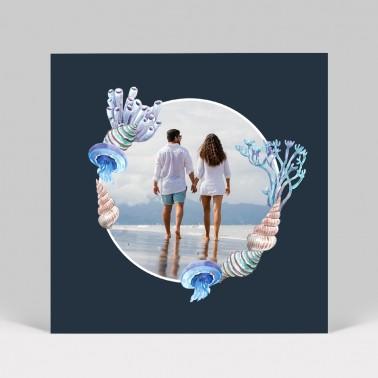 Carte remerciement de mariage Mer, Océan, Fond marin