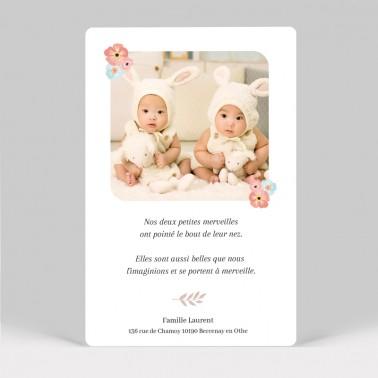 Faire-part naissance couronne fleurs jumelles avec photo