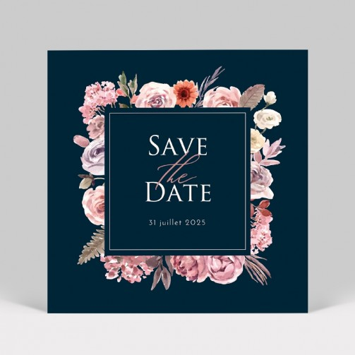 Save the date bouquet de fleurs