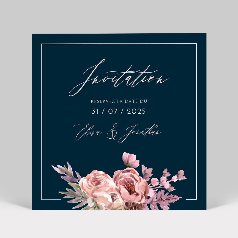 Carte d'invitation mariage bouquet de fleurs