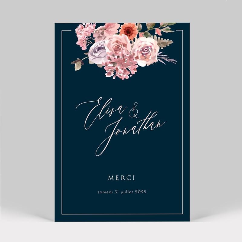 Carte remerciement mariage bouquet de fleurs