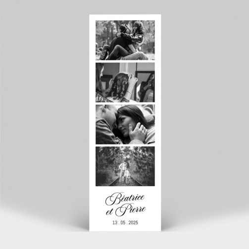 Save the date mariage Photomaton marque-page avec photo