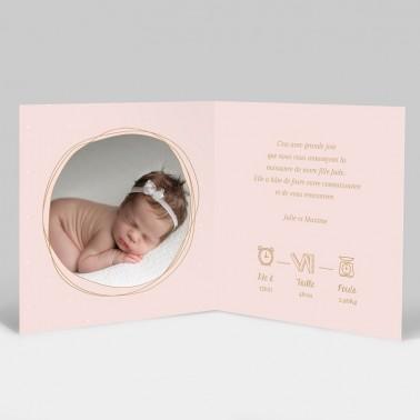 Faire-part naissance Rose poudré avec photo