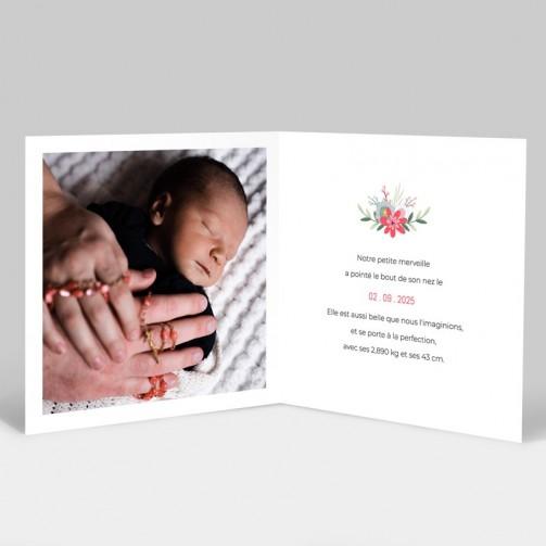 Faire-part de naissance couronne de fleurs avec photo