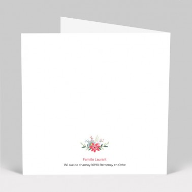 Faire-part de naissance couronne de fleurs 4 pages