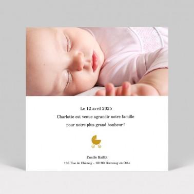 Faire-part de naissance poussette photo