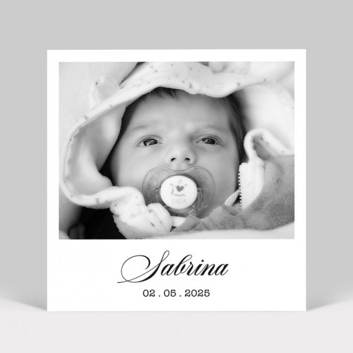 Faire-part de naissance Polaroid fille