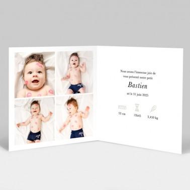 Faire-part naissance Salopette avec photos