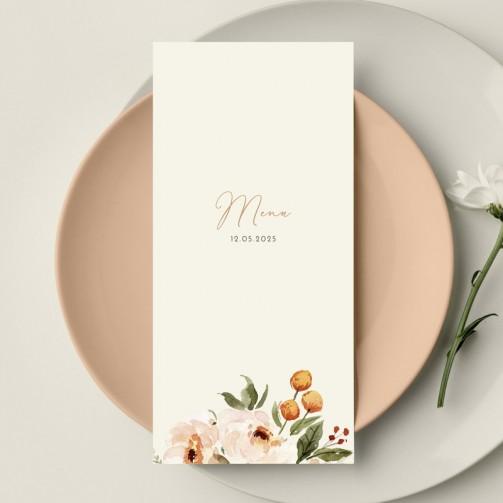 Menu mariage fleurs aquarelle