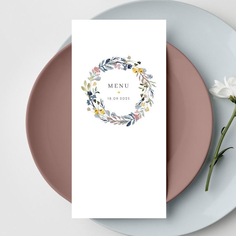 Menu mariage Couronne Fleurs