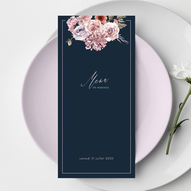 Menu mariage bouquet de fleurs