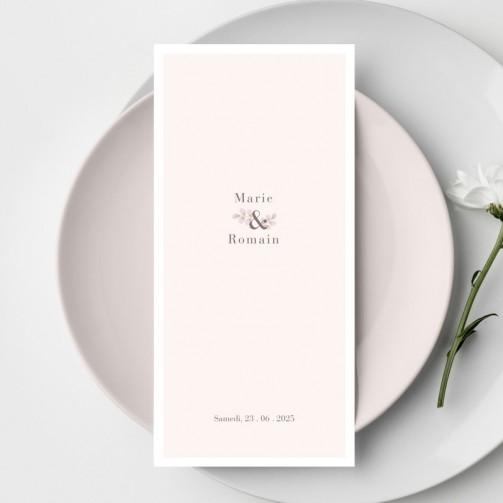 Menu mariage rose poudré