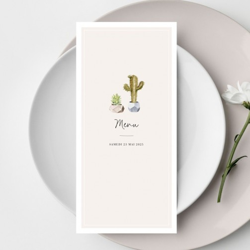 Menu de mariage Cactus