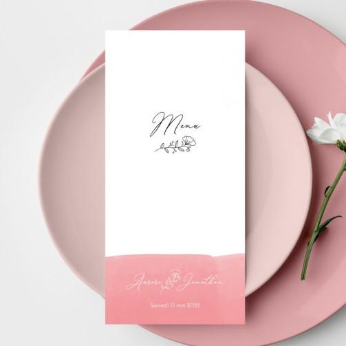 Menu mariage Aquarelle Rose
