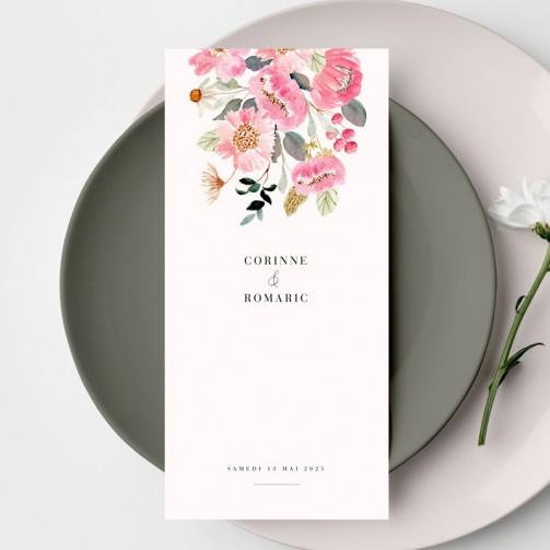 Menu de mariage fleuri avec des fleurs colorées roses