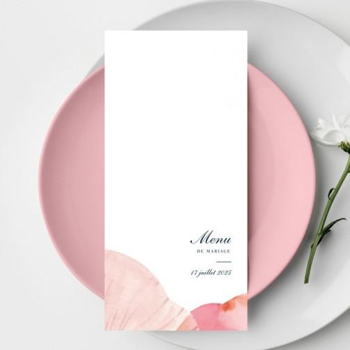 Menu de mariage pétales de fleurs